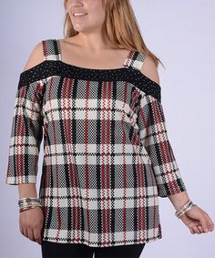 Look what I found on #zulily! Red & Black Plaid Cutout Top - Plus #zulilyfinds