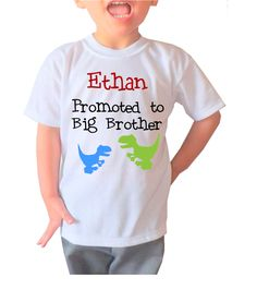 Promoted To Big Brother Cute T-Rex Big Brother T-Shirt Big Brother Onesie Personalized with Your Child's Name by 5MonkeysDesigns on Etsy