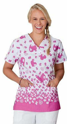 White Swan Trust Your Journey Women's Mock Wrap Print Scrub Top featuring happy heart and Breast Cancer Awareness print