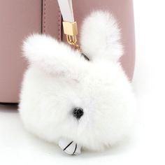 Cute Pompo Bunny Keychain Trinket Doll Pom Pom Rabbit Fur Toy Key Chain on Women Bag Car Key Ring Chaveiro Jewelry New Year Gift