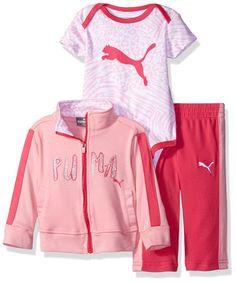 PUMA Girls' Baby 3 Piece Jacket, Bodysuit, and Pant Set, Pink Glow, 6-9 Months. Snap bottom bodysuit. Print bodysuit with PUMA cat.