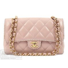 CHANEL - Authentic Chanel Quilted Lamb Skin Flap Bag - LUXURY EXCHANGE... ❤ liked on Polyvore featuring bags, purses, borse, chanel, accessories, chanel bags, quilted hand bags, pink purse, pink quilted purse and chanel handbags