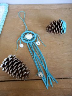 The Deer Heart Mini Dream-catcher. Genuine Carved Antler Rosette &  turquoise suede handmade rustic dreaming snare. Amulet. Talisman. Tribal
