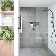 TOP TIP: Run your tiles floor to wall to give the room depth and height ft. our Axis Grey 📸 Gray Shower Tile, Grey Bathroom Tiles, Ensuite Bathrooms, Bathroom Renos, Laundry In Bathroom, Modern Bathroom Design, Bathroom Interior Design, Bathroom Renovations, Black Shower