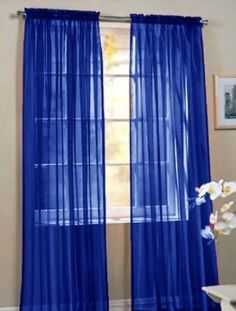 2 Piece Beautiful Sheer Window Royal Blue Elegance Curtains/drape/panel… X Window Sheers, Sheer Curtain Panels, Rod Pocket Curtains, Sheer Curtains, Panel Curtains, Window Panels, City Curtains, Luxury Curtains, Room Window