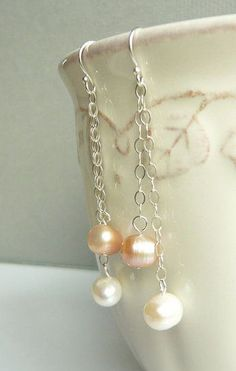 Pink and Ivory Pearl Dangle Earrings Sterling