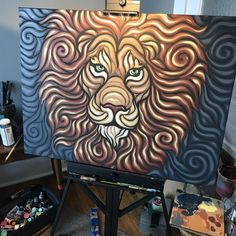 This lion painting (Repost from r/pics) Indian Art Paintings, Cool Paintings, Animal Paintings, Black And White Art Drawing, Lion Painting, Wall Art Wallpaper, Lion Art, Diy Canvas Art, Painting Inspiration