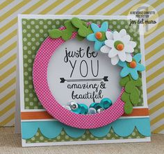 Reverse Confetti All About You stamp set. Petals 'n Posies and Double Edge Scallop Border Confetti Cuts.  Shaker card. Encouragement card.