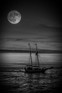 A Ship In The Night Shoot Moon Sun Rise Stars