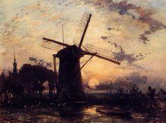 Barcaiolo e mulino a vento al tramonto, 1859 Johan Barthold Jongkind