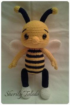 My Very Own Design and Pattern! Meet Baby Bee BUMBLE. He is simply adorable and simple to make. Finished size: 15 inches Skill level: Easy (single crochet, increase, decrease) You can find the pattern at= https://www.Etsy.com/Shop/ToledosTalents...