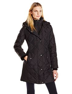 LARRY LEVINE Women's Diamond-Quilted Down Coat With Hood Review