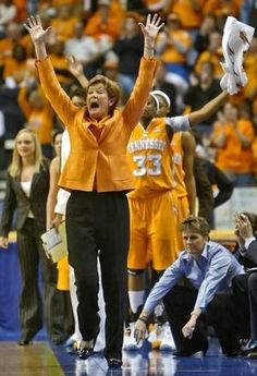 Tennessee Coach Pat Summitt and players celebrate as they wrap up a victory against LSU to win the SEC Women's Championship in March 2008...