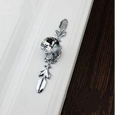 K9 crystal kitchen cabinet drawer knob pull glass diamond dresser cupboard door handle silver back plate moddern furniture knob #Affiliate