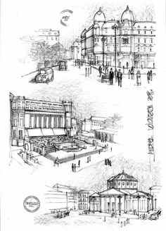 Bucuresti Interbelic Schite by dedeyutza on DeviantArt Architecture Images, Historical Architecture, Architecture Drawings, Environment Sketch, Interwar Period, Perspective Drawing, Urban Sketchers, Bucharest, Drawing Sketches