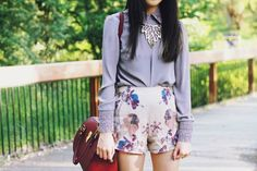 Warehouse button back blouse, Rotsaniyom floral shorts, ASOS bag , Doury necklace (image : kisforkani) - from tumblr what-do-i-wear