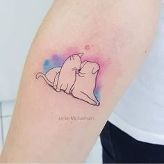 Cute and delicate tattoo Baby Tattoos, Line Tattoos, Tatoos, Animal Lover Tattoo, Cat And Dog Tattoo, Cat Tattoo Designs, Delicate Tattoo, Minimal Tattoo, Tattoo Life