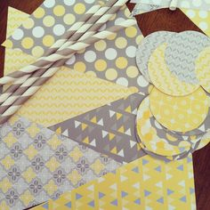 Amelia Marie Design: Yellow and gray baby shower collection in the making! #babyshower #gray #yellow