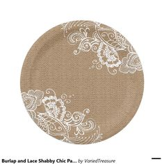Burlap and Lace Shabby Chic Paper Plates  sc 1 st  Pinterest & These beautiful elegant vintage style paper serving plates are ...