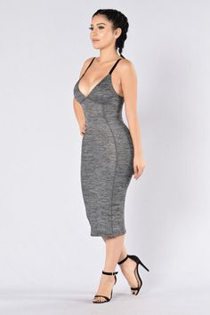 - Available in Charcoal - Midi Dress - Bodycon - Adjustable Black Straps - 40% Polyster 60% Cotton