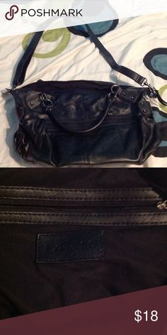Express large black purse Great large black bag with shoulder strap and zippers Express Bags Shoulder Bags