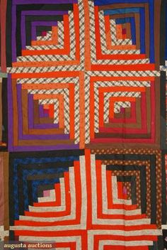Log Cabin wool quilt worked in diamond pattern, Vermont, 1876, seen at auction
