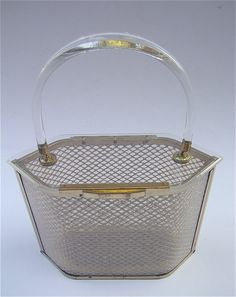 Vintage Lucite Bag Art Deco Tasche klar Lucite Handtasche klaren harten Seite Bag strukturierte Tasche Transparent Handtasche Lucite Geldbeutel schwer RS Geldbörse