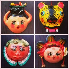 Mexican coconut masks, oh my! Find more Mexican folk art at www.nomadcambridge.com