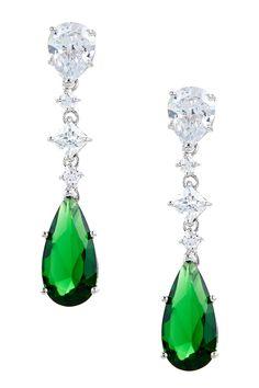 Sterling Silver Tiered CZ Drop Earrings