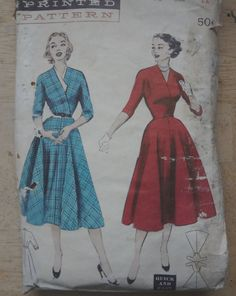 1950s Vintage Sewing Pattern Dress bust 30 by fuzzylizzie on Etsy