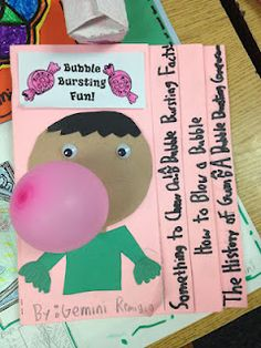 "Our Bubble Bursting Gum Projects  These projects turned out to be a fun & creative way to share  several of the major standards that we focused on this year.  The project incorporated the following: Timeline (The History of Gum)  /Facts/Opinions/""How to"" Writing (Written by students for parents to follow)/Compare/Contrast (Types of gum)"