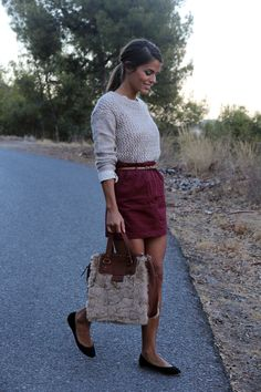 dotted blouse, grey sweater & skirt