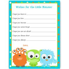 Have guests offer hopes for baby at your baby shower with this wishes card featuring three adorable monsters bordered by bright polka dots.