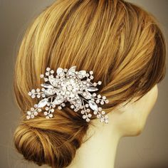 Victorian Style Bridal Hair Comb Rhinestone and by luxedeluxe