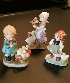 3 Vintage Hummel Like Figurines Porcelain Girls with Geese, Girl Praying