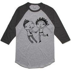 theIndie Skipping (Black) 3/4-Sleeve Raglan Baseball T-Shirt