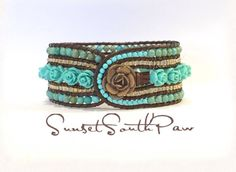 Turquoise Rose Beaded Leather Cuff Bracelet by SunsetSouthPaw Beaded Leather Wraps, Leather Cuffs, Leather Jewelry, Leather Cord, Beaded Jewelry, Beaded Bracelets, Wrap Bracelet Tutorial, Unique Roses, Great Mothers Day Gifts