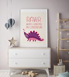 Rawr means I love you in dinosaur funny nursery quote printable girl dinosaur wall art toddler girl room decor printable girls room wall art by PrintableLifeStyle on Etsy https://www.etsy.com/listing/268067191/rawr-means-i-love-you-in-dinosaur-funny