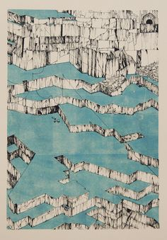 This abstract axonometric drawing of a marble quarry revels the geometry this man made landscape. Because axonometric projection is used instead of perspective, we can easily read the. Landscape Drawings, Architecture Drawings, Abstract Landscape, Landscape Architecture, Landscape Design, Art Drawings, Architecture Jobs, Landscape Plans, Axonometric Drawing