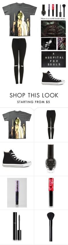 """""""QOTD- What was the last band you listened to?"""" by michytherockerplatypus ❤ liked on Polyvore featuring Topshop, Converse, Lime Crime, Chanel and NARS Cosmetics"""