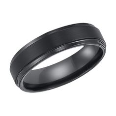 Oliveti Men's Black Plated Titanium Beveled Edge Comfort Fit Band Ring | Overstock.com Shopping - The Best Deals on Men's Rings