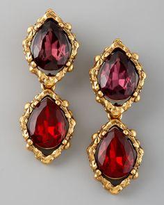 Double-Drop Clip Earrings by Oscar de la Renta at Bergdorf Goodman.