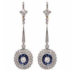 Sapphire Diamond Platinum Pendant Dangle Earrings | From a unique collection of vintage dangle earrings at