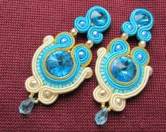 :) Welcome to JOKUart where you will find original soutache jewelry and copper wire art work. Available in my shop: necklaces and pendants, bracelets, earrings, hair accessories. If You want to see more photos, please visit my shop. Soutache Earrings, Clip On Earrings, Stud Earrings, Handmade Accessories, Fashion Accessories, Handmade Jewelry, Hair Accessories, Jewelry Party, Boho Jewelry
