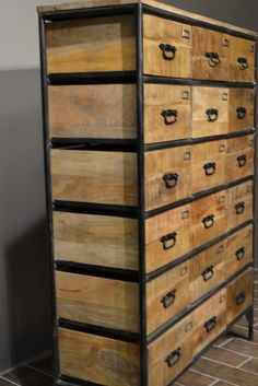 Crafters And Weavers Industrial Style 18 Drawer Metal And Wood Cabinet  #CraftersandWeavers