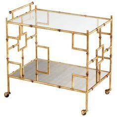 Cyan Design Molly Martini Bar Cart Molly 29.25 Inch Tall Iron And Glass Bar  Cart