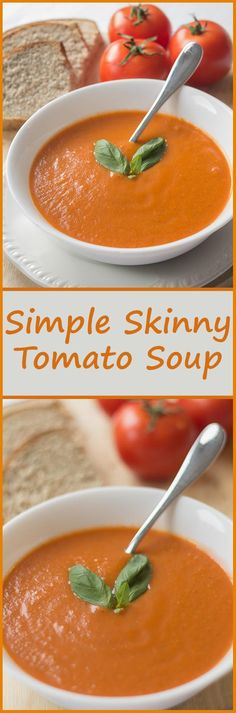 It's simple skinny tomato soup. It's low in calories, carbs, fat and cost. This soup is so full of tomato flavour that I practically guarantee it could make you reluctant to go back to ever buying tinned soup ever agai Tomato Soup Recipes, Healthy Soup Recipes, Diet Recipes, Vegan Recipes, Cooking Recipes, Healthy Meals, Recipes Dinner, Simple Soup Recipes, Low Calorie Vegetarian Recipes