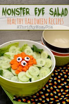 Healthy Halloween Recipes for kids ~ Monster Eye Salad Healthy Halloween Recipes, Monster Eye Salad, Easy Halloween Recipes, Halloween treats Halloween Treats For Kids, Halloween Food For Party, Halloween Dinner, Halloween Recipe, Halloween Diy, Halloween Decorations, Salad Recipes, Healthy Recipes, Healthy Sauces