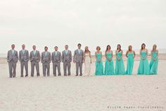 Tessa, if you like the grey / tiffany blue combo better than navy you could have Geoff in Charcoal and the groomsmen in grey...just a thought.