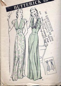 Vintage 1940s Nightgown Pattern Floor Length Low V door sydcam123